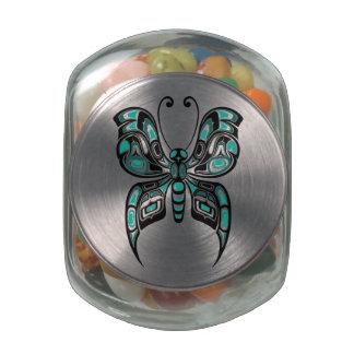Teal Blue Haida Spirit Butterfly Glass Jars