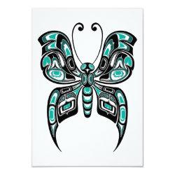 Teal Blue Haida Spirit Butterfly Card