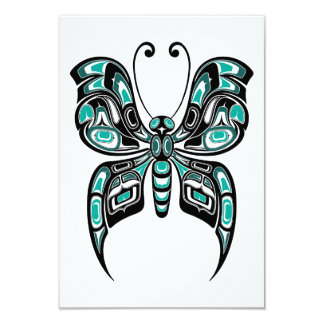 Teal Blue Haida Spirit Butterfly Card