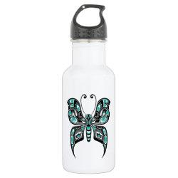 Teal Blue Haida Spirit Butterfly Stainless Steel Water Bottle
