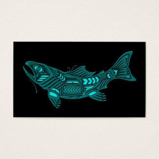 Teal Blue Haida Spirit Fish on Black Business Card