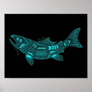 Teal Blue Haida Spirit Fish on Black Poster