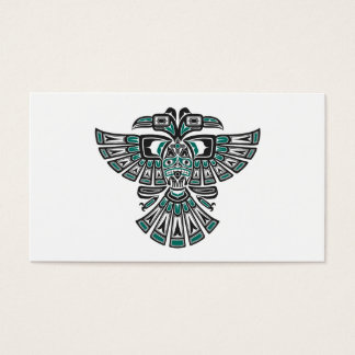 Teal Blue Haida Two Headed Spirit Bird on White Business Card