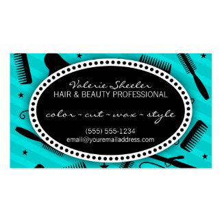 Teal Blue Hair & Beauty Coupon Double-Sided Standard Business Cards (Pack Of 100)