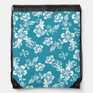 Teal Blue Hawaiian Print Drawstring Backpack