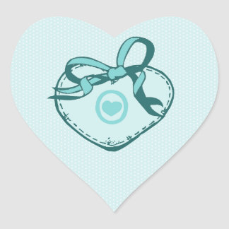 Teal Blue Heart and Ribbon Heart Sticker