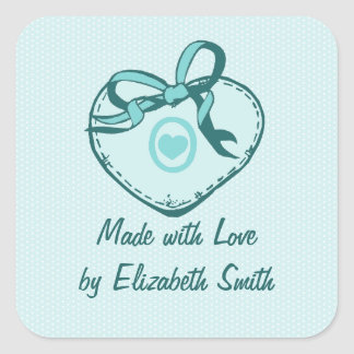 Teal Blue Heart and Ribbon Square Sticker