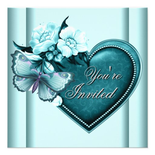Teal Blue Heart Butterfly Teal Blue Party Personalized Invite