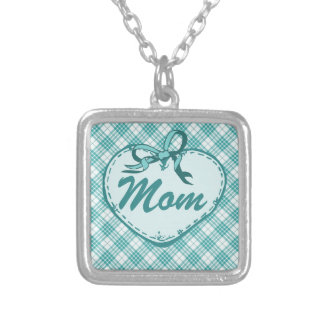 Teal Blue Heart on Plaid with Mom V2 Necklaces