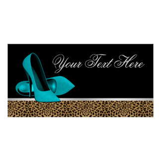 Teal Blue High Heel Shoes Leopard Party Banner Poster