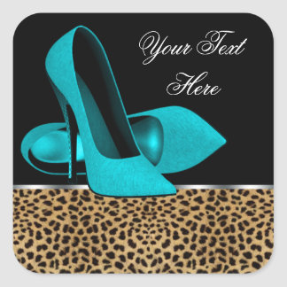 Teal Blue High Heel Shoes Leopard Stickers
