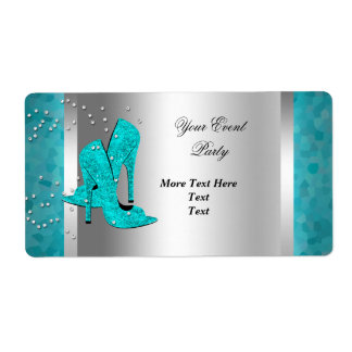 Teal Blue High Heel Shoes Silver Event Label
