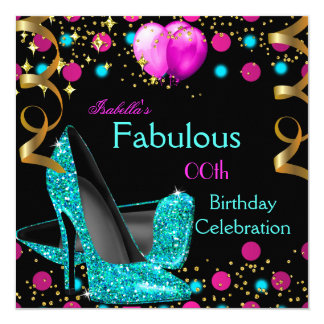 Teal Blue High Heels Shoes Hot Pink Birthday Party Card