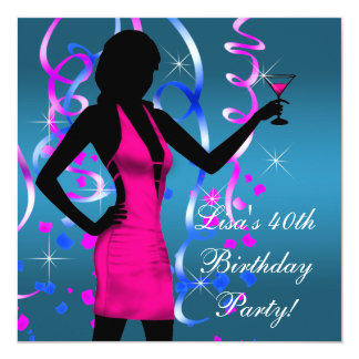 Teal Blue Hot Pink 40th Birthday Party Card