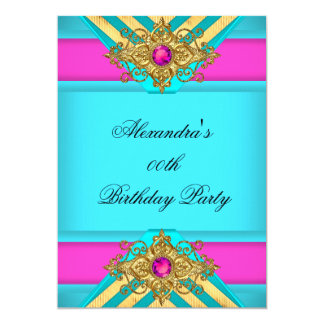 Teal Blue Hot Pink Birthday Party Jewel Gold Card