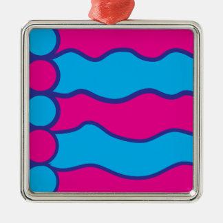 Teal Blue Hot Pink Color Waves Pattern Metal Ornament