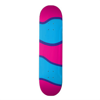 Teal Blue Hot Pink Color Waves Pattern Skateboard