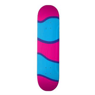 Teal Blue Hot Pink Color Waves Pattern Skateboard