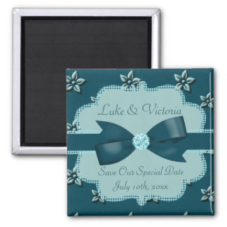 Teal Blue Island Flowers & Rhinestones Wedding 2 Inch Square Magnet