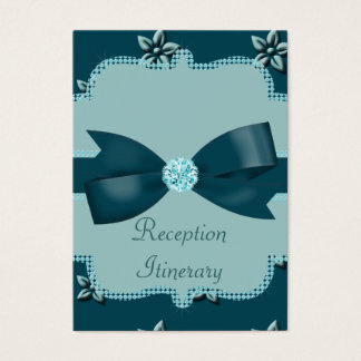 Teal Blue Island Flowers & Rhinestones Wedding Business Card