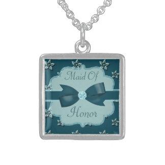 Teal Blue Island Flowers & Rhinestones Wedding Sterling Silver Necklace