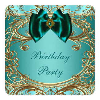Teal Blue Jade and Gold Birthday Party Invitation