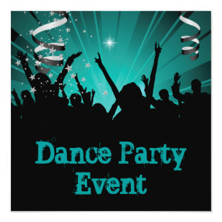 Teal Blue Jade Dance Party Event Crowd Rave 5.25x5.25 Square Paper Invitation Card