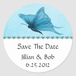 Teal Blue Jewel Hearts Teal Blue Butterfly Save Th Classic Round Sticker