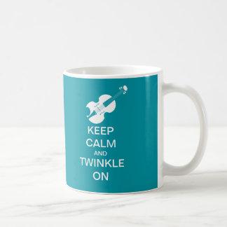 Teal Blue Keep Calm Twinkle On Violin Coffee Mug