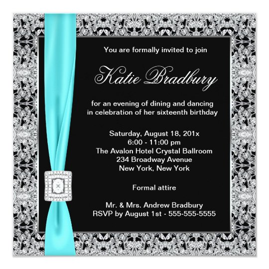 Teal Blue Lace Black Sweet Sixteen Party Card