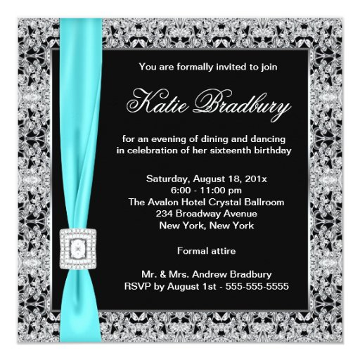 "Teal Blue Lace Black Sweet Sixteen Party 5.25"" Square Invitation Card"