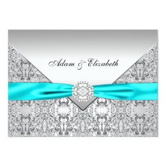 Teal Blue Lace Diamond Ribbon Wedding 5x7 5x7 Paper Invitation Card