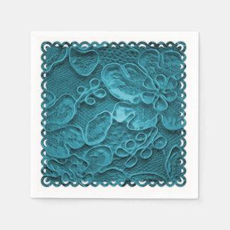 Teal Blue Lace Paper Napkins