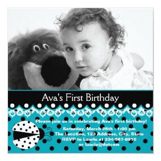 Teal Blue Ladybug Girls Photo 1st Birthday Party Card