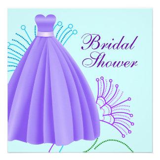Teal Blue Lavender Purple Bridal Shower Custom Invite