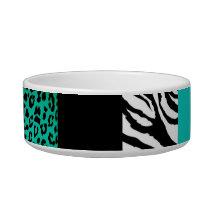 Teal Blue Leopard and Zebra Custom Animal Print Bowl