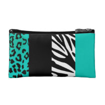 Teal Blue Leopard and Zebra Custom Animal Print Cosmetic Bag