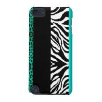 Teal Blue Leopard and Zebra Custom Animal Print iPod Touch (5th Generation) Cover