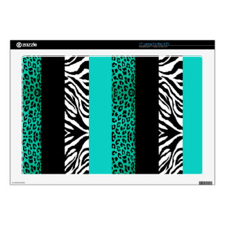 Teal Blue Leopard and Zebra Custom Animal Print Laptop Skins