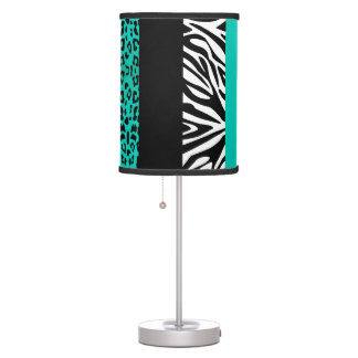 Teal Blue Leopard and Zebra Custom Animal Print Table Lamp