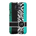 Teal Blue Leopard and Zebra Monogram Animal Print Samsung Galaxy SII Cover