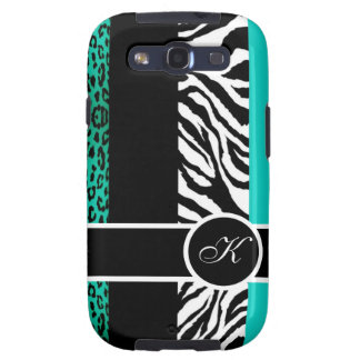 Teal Blue Leopard and Zebra Monogram Animal Print Samsung Galaxy S3 Case