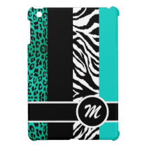 Teal Blue Leopard and Zebra Monogram Animal Print iPad Mini Cases