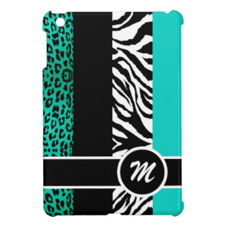 Teal Blue Leopard and Zebra Monogram Animal Print iPad Mini Cover