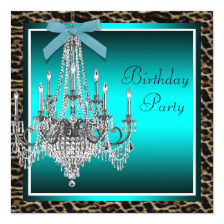 Teal Blue Leopard Chandelier Birthday Party Card