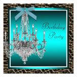 Teal Blue Leopard Chandelier Birthday Party Personalized Invitation