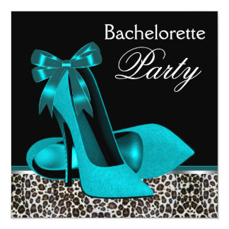 Teal Blue Leopard High Heels Bachelorette Party Card