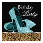 Teal Blue Leopard High Heels Birthday Party Personalized Announcement