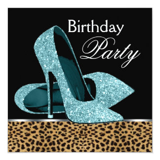 Teal Blue Leopard High Heels Birthday Party 5.25x5.25 Square Paper Invitation Card