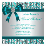 Teal Blue Leopard Sweet 16 Birthday Party Personalized Invites